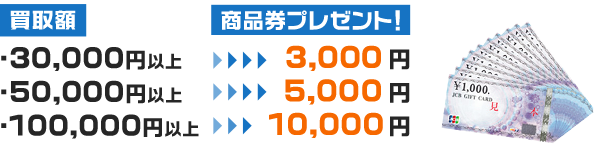 査定金額3万円以上でJCB商品券を1万円分プレゼント